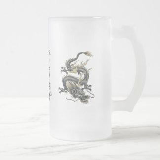 Dragón metálico taza cristal mate