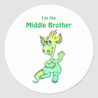 dragon middle brother classic round sticker