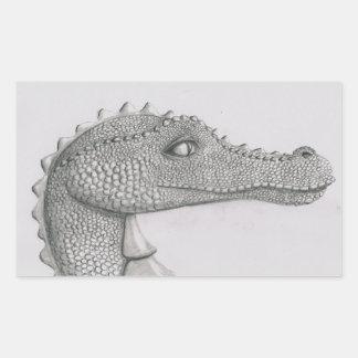 Dragón moldeado pegatina rectangular