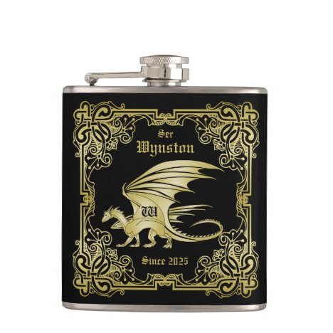 Dragon Monogram Gold Frame Traditional Book Cover Flask