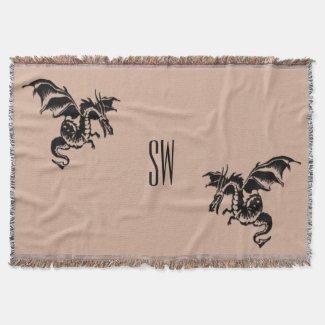 Dragon Monogram Light Brown Throw Blanket