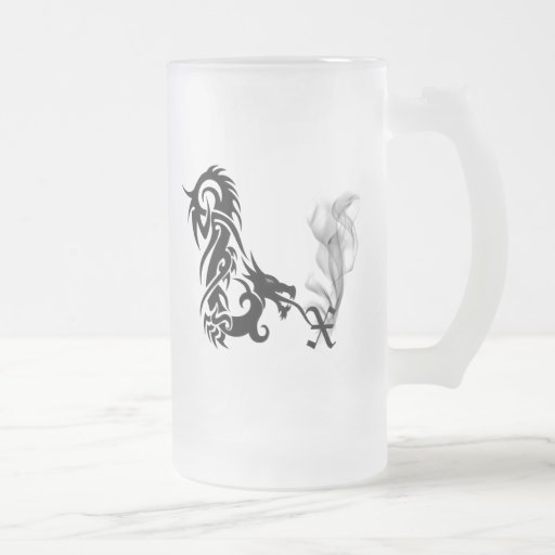 Dragon Monogram X 16 Oz Frosted Glass Beer Mug