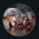 "Dragon &amp; Moon Fantasy Art Dart Board<br><div class=""desc"">On a blustery moonlit night,  a Dragon emerges from the deep ocean waters,  to take on the world above him.</div>"