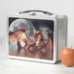 """Dragon Moon Fantasy Art Metal Lunch Box<br><div class=""""desc"""">A mythical Dragon and Full Moon fantasy design on a cool lunch box. Perfect for children to put their school lunch in.</div>"""