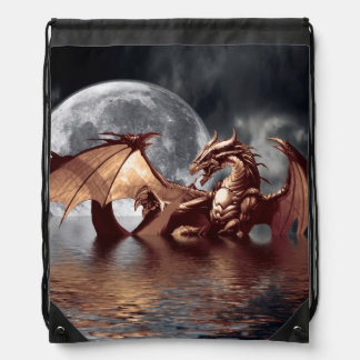 Dragon & Moon Fantasy Artwork Drawstring Backpack