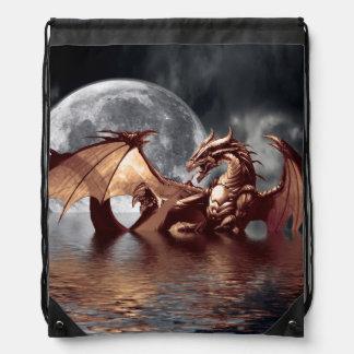 Dragon & Moon Fantasy Artwork Drawstring Bag