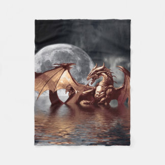 Dragon & Moon Fantasy Artwork Fleece Blanket