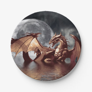 Dragon & Moon Fantasy Artwork Paper Plate