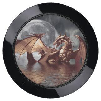 Dragon & Moon Fantasy Artwork USB Charging Station