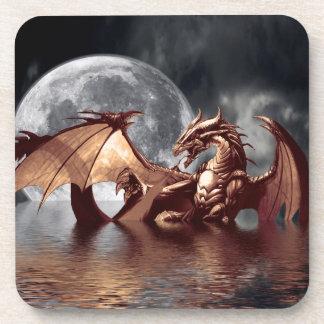 Dragon & Moon Fantasy Design Drink Coasters