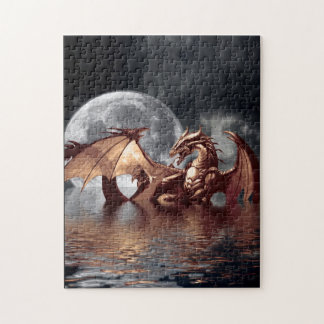 Dragon & Moon Fantasy Mythical Art Puzzle