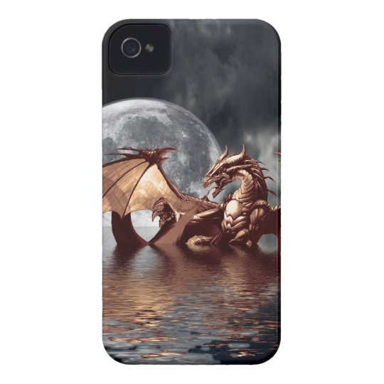 Dragon & Moon Fantasy Mythical  Black Berry Case