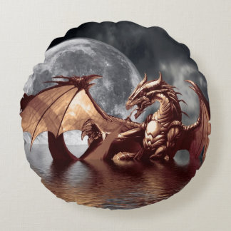 Dragon & Moon Fantasy Mythical Round Pillow