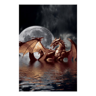 Dragon & Moon Fantasy Poster