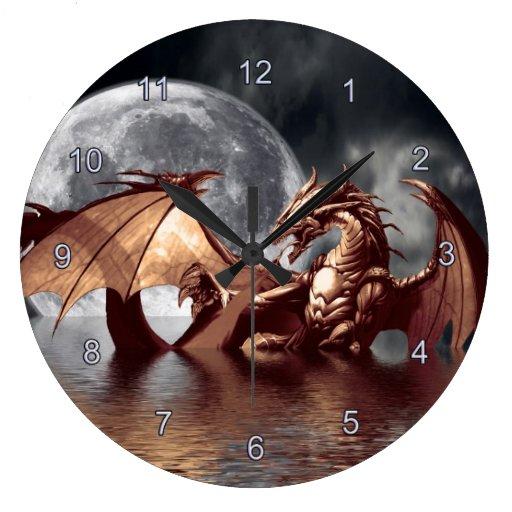 Dragon & Moon Fantasy Wall Clock