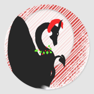 Dragon Moon Holiday (Candy Cane Background) Classic Round Sticker