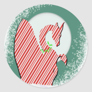 Dragon Moon Holiday (Candy Cane) Classic Round Sticker