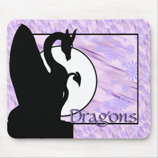 Dragon Moon I (Lavender Flowered) Mouse Pad