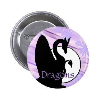 Dragon Moon I (Lavender Flowered) Pinback Button