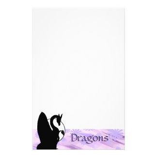 Dragon Moon I (Lavender Flowered) Stationery