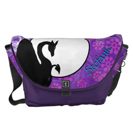 Dragon Moon I (Purple Flowered) Courier Bag