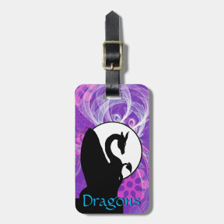Dragon Moon I (Purple Flowered) Luggage Tag