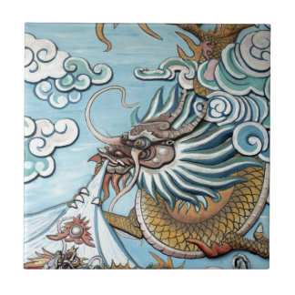 Dragon mural in Chinese Buddhist temple Tile