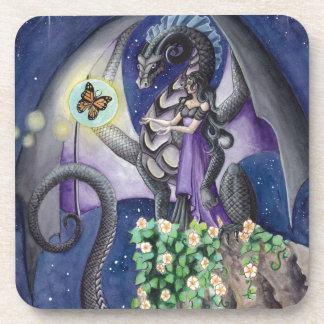 Dragón negro con arte del dragón de la mariposa posavasos