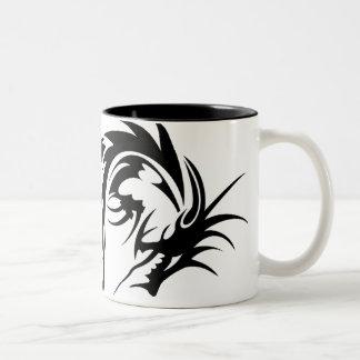 Dragón negro gigante taza dos tonos
