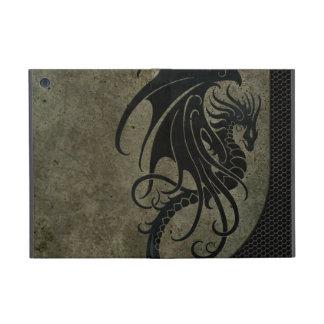 Dragón negro industrial en el gráfico de acero de iPad mini cárcasas