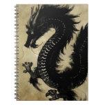 Dragón negro libros de apuntes con espiral