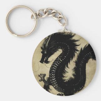 Dragón negro llavero redondo tipo pin