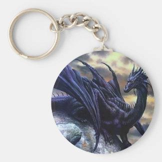 Dragon Negro Llavero Redondo Tipo Pin