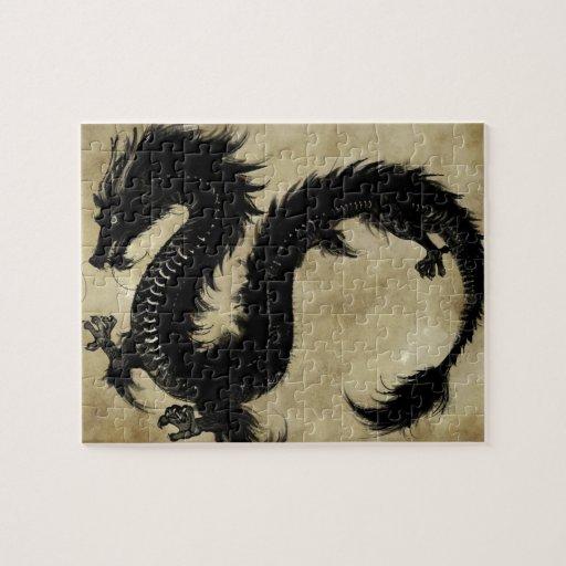 Dragón negro puzzle con fotos