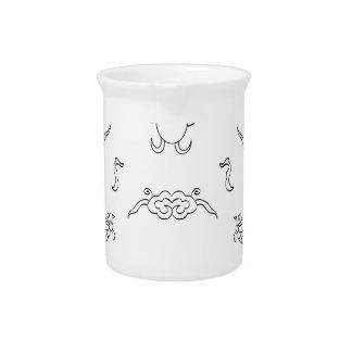 dragón-negro y blanco jarras de beber