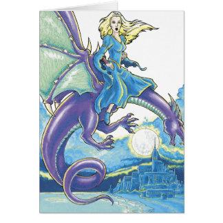 dragon night princess greeting card