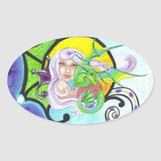Dragon + Nymph hugs oval fantasy art stickers