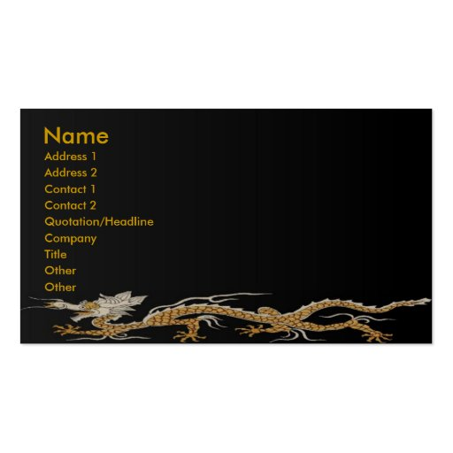 Dragon Of Buddhan Profile Card Business Card