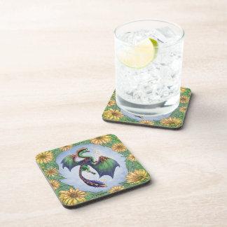 """Dragon of Summer"" Flowers Fantasy Art Beverage Coaster"