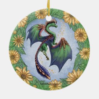 Dragon of Summer Nature Fantasy Art Ceramic Ornament