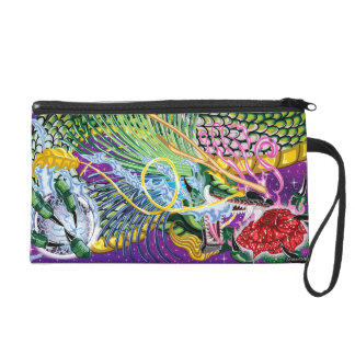 Dragon Of The Rose Clutch Wristlet Clutch