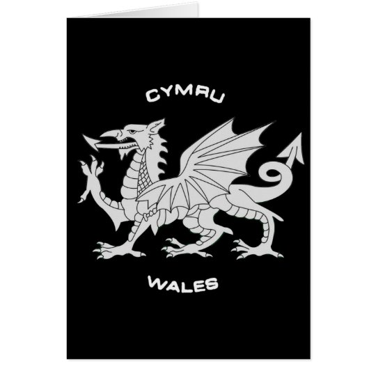Dragon of Wales (Cymru)in Black and Grey Card