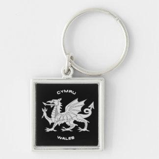 Dragon of Wales (Cymru)in Black and Grey Keychain