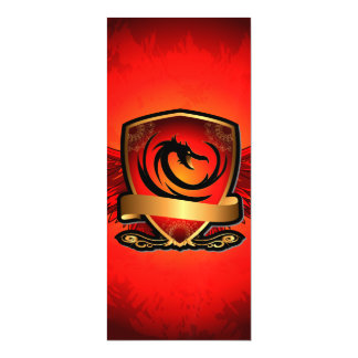Dragon on a shield with wings in red and gold magnetic invitations