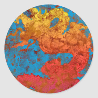Dragon-on-blue Classic Round Sticker
