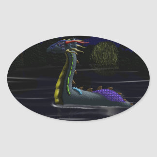 Dragon on the Lake Oval Sticker