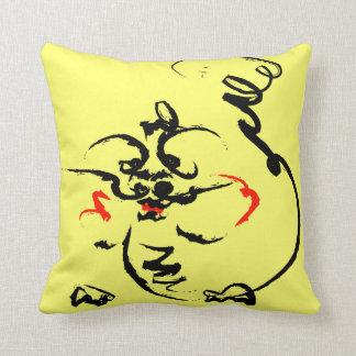 Dragon on yellow throw pillow