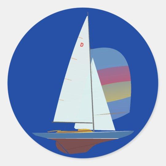 Dragon One Design Racing Sailboat Classic Round Sticker