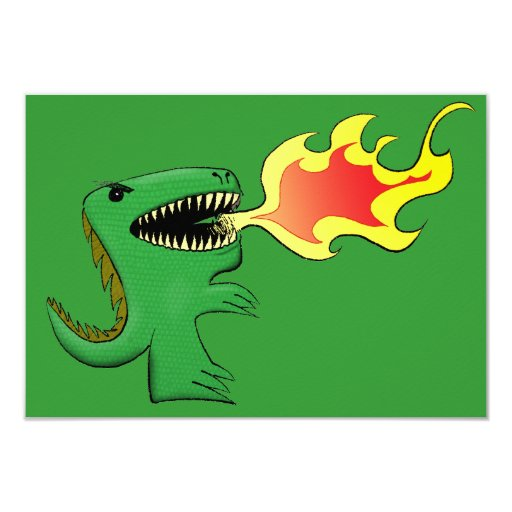 Dragon or Dinosaur art by little t + Jim Campbell Invite