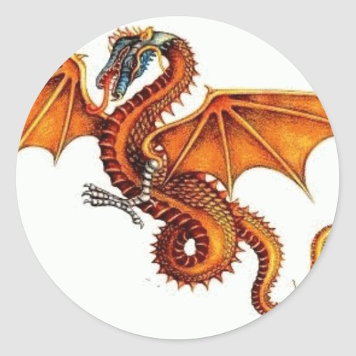 dragon-orange classic round sticker